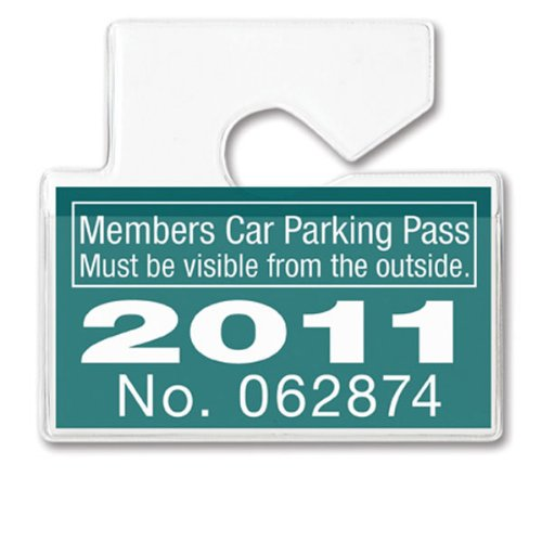 Clear Horizontal Vehicle Parking Permit Pass Hanger Tag Holder - Hangs from Car Rear View Mirror - by Specialist ID, Sold Individually