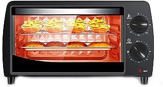 Horno DoméStico PequeñO 10L 800W,Mini Horno EléCtrico Multifuncional Para Pasteles Y Pan,Vidrio Templado Resistente A Altas Temperaturas,Temporizador 60 Minutos,Control Temperatura 70-250 ℃,Black
