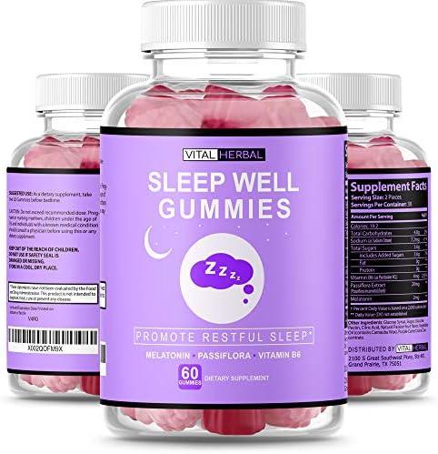 VITAL HERBAL Sleep Melatonin Gummies Passiflora Vitamin B6 Fall Asleep Faster Stay Sleeping product image