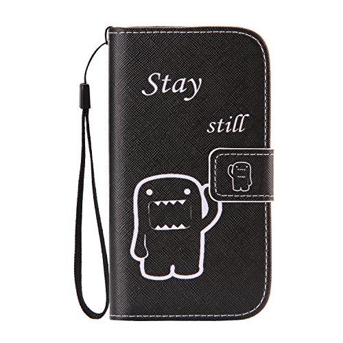 ISAKEN Compatibile con Samsung Galaxy S4 Custodia in Pelle PU Protettiva Flip Portafoglio Caso con Strap/Supporto di Stand/Carte Slot/Chiusura Magnetica - Cartoon