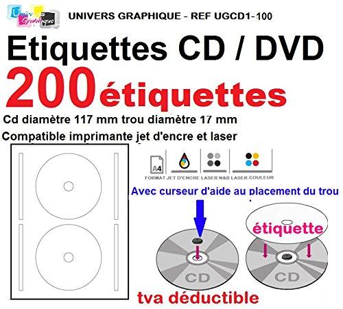100 Blatt 2 CD/DVD-Etiketten Adhesives Klebeetiketten Durchmesser 117 mm Platten Laserdrucker und Tintenstrahldrucker