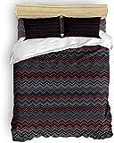 LIS HOME Bettwäscheset - Abstrakter Bettbezug, Elegance Chevron Pattern Zick-Zack-Bettbezug mit Reißverschluss, Krawatten - Modernes 3-teiliges Bettwäscheset für Herren/Damen/Kinder