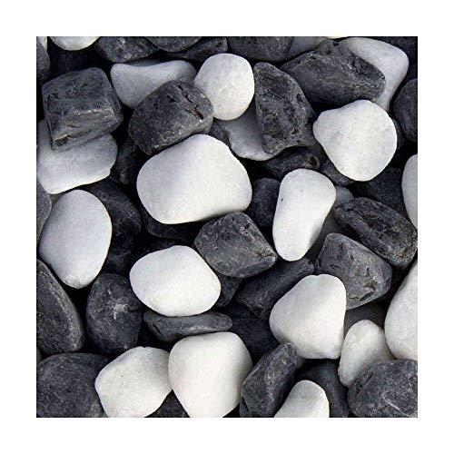 Panda Kies, 16-25mm, kontrastreicher und attraktiver Zierkies mit weißen und schwarzen Steinen, 20 kg Sack - Mindestbestellmenge 15 Stück