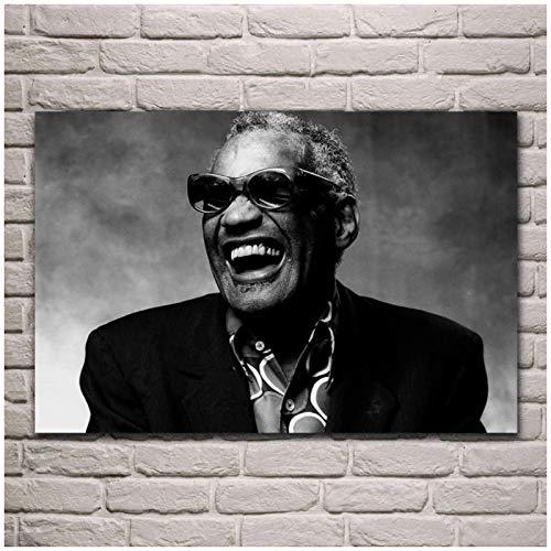 XuFan Ray Charles Músico Autor Soul Jazz Rhythm and Blues Sala de Estar Arte de la Pared Posters e Impresiones Decoración para el hogar-20X30 Pulgadas Sin Marco