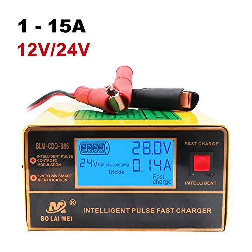 Chargeur de Batterie, 1A à 15A 12V/24V Reconnaissance Automatique Chargeur Rapidede Batterie de Voiture Chargeur Intelligent Chargeur d'impulsion avec Grand écran...