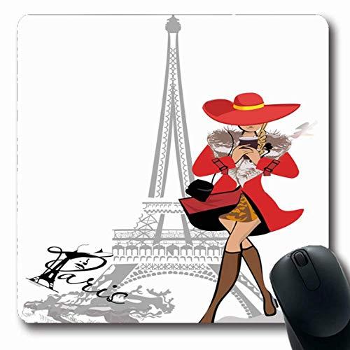 Mousepad Tour Travel Girl Roter Kaffee Vintage City Pariser Mantel Tasse Schöne Zeichnung Design Romantischer Turm Benutzerdefinierte Mousepad Gummi Länglich Rutschfest 25X30Cm Ma