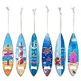 Lote de 6 Decorativos Abridores de Madera para Cervezas Tablas Surf Surtidos. Recuerdos. Destapadores. Regalos Originales. Detalles de Bodas, Comuniones, Bautizos, Cumpleaños. 4,50 x 0,10 x 18,50 cm