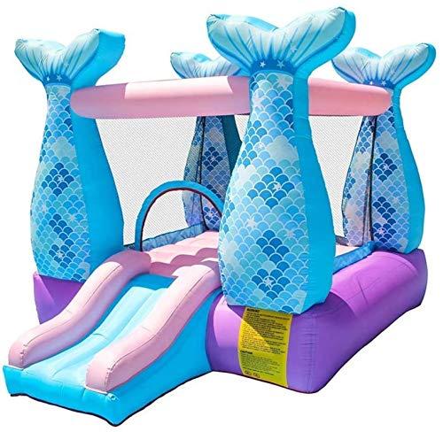 Vivid Kids Payaso Bouncer Bouncy Castle Castillo Inflable Mermaid Bouncy Castle House con Deslizamiento y soplador de Aire para los niños Party, 280x215x195cm
