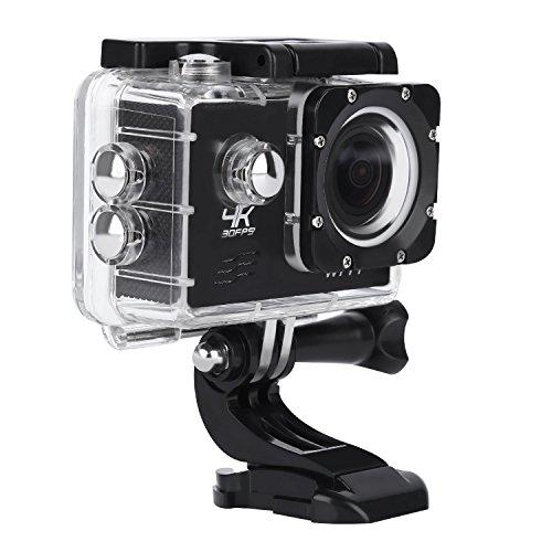 Caméra sportive 4K LESHP Ultra HD - 30 FPS - 1080 P - Étanche - Grand Angle - Avec kit d'accessoires - Pour vélo, moto, plongée, natation, etc.