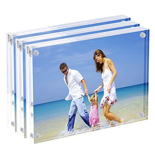 AMEITECH Magnetische Bilderrahmen, 13x 18cm, Acryl-Bilderrahmen, 10+ 10mm Dicke, Schreibtisch, Tisch, klar - 3er Pack