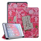 Japan Cartoon Anime Floral Cover for iPad Mini 5 Case with Pencil Holder Cute Newcool iPad Mini 4 Case for Girls Kids Pink Flower Leather Skin Trifold Stand Smart Case Support Auto Sleep/Wake