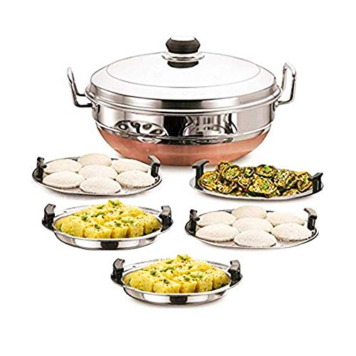 Sophronia Stainless Steel Idli Cooker Multi Kadai Steamer with Copper Bottom All-in-One Big Size 5 Plate 2 Idli   2 Dhokla   1 Patra   Momo's   28.5 cm Dia