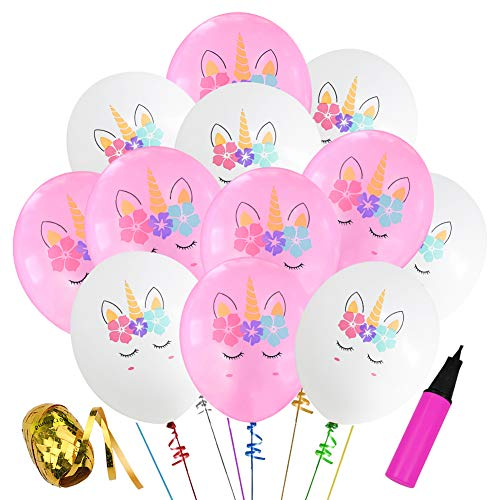 30 Pcs Unicorn Birthday Balloons White and Pink Unicorn Balloons for Unicorn Theme Party, Kids Birthday Party, Baby Shower, Festival Party Decorations (White & Pink)