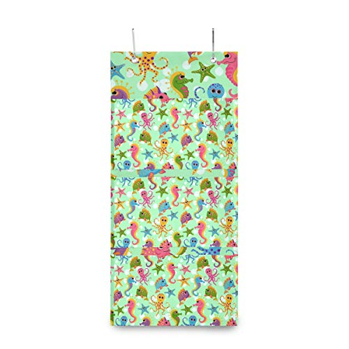SLHFPX Hanging Closet Storage Organizer Bags Cartoon Baby Sea Fish Cute 0ver The Door Hanging Pocket Organizer Reusable Foldable Wall Storage Bag with 3 Pockets for Bedroom,Bathroom