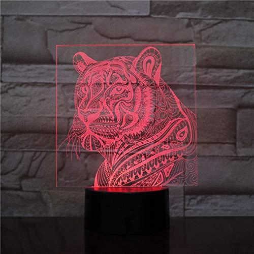 3D Slideshow3D LED lamp decoratie tijger tafellamp decoratie beste cadeau voor festival raak de schakelaar [energie-efficiëntieklasse A]