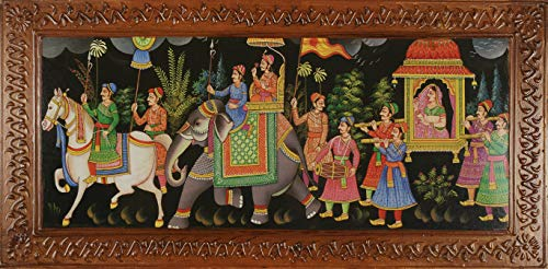 Ancient Royal 12x24 inches Canvas Print Painting of Royal March of King and Queen for Home Decor Living Room Restaurant and Gift - Ready To Hang