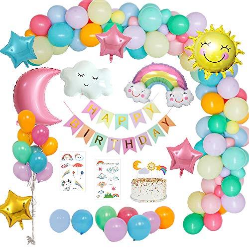MMTX Decoraciones Fiesta Cumpleaños Pastel, Feliz Cumpleaños Tema del Cielo con Pancarta de Happy Birthday, Dom Luna Nubes Arco Iris Estrella Globo para Revelación de género Niñas niño Mujeres