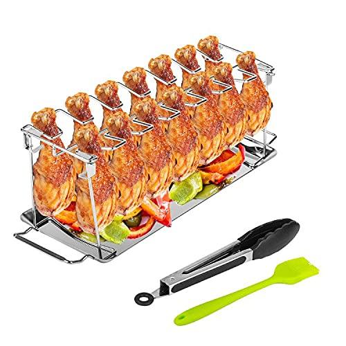 Baskiss Supporto per toeletta di pollo per forno e grill, in acciaio inox, per 14 germogli, porta cipollo, con vaschetta raccogli-pollo, supporto per barbecue e barbecue con pennello per barbecue