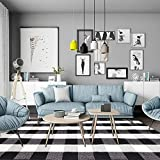 100% Cotton Buffalo Plaid Area Rug 5' x 6' 7', KIMODE Black/White Hand-Woven Checkered Floor Mats, Modern Collection Rugs Machine Washable Collection Rugs Carpet for Bathroom,Bedroom,Living Room