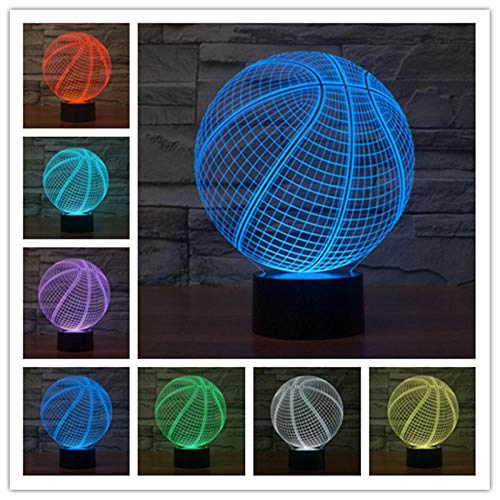 Decor Led Night Lamp Lamp 3D Illusion Optical Bedside Table Light Basketball 7 Colors Changing Touch Switch with Timer Remote Control and USB Cable Gifts for Children