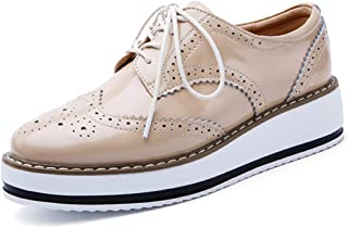Catata Womens Platform Oxford Closed Toe Lace-up Brogue Shoes