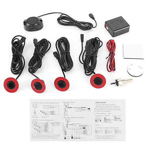 Yctze Kit de radar de marcha atrás, sensores de aparcamiento de coche de 16,5 mm Sensor de radar de reserva integrado Kit de alarma de marcha atrás Asistencia con zumbador de audio Kit(Negro)