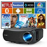 7200Lumen Wireless 5G WiFi Projector Full HD 1080P Native Support 4K Smart LCD Movie Projctors with Bluetooth Android OS for Outdoor/Home Theater iPhone Computer DVD TV Stick PS5 HDMI USB VGA Audio