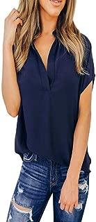 iTLOTL Women Summer Chiffon Solid Blouse Short Sleeve Casual Shirt Tops T-Shirt