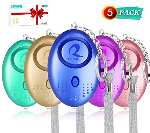 ROMILE Safe Sound Personal Alarm - 5 Pack【Siren Song】 140DB Reusable Security Alarms Keychain with LED Light, Emergency Safety Alarm for Women Girls Kids and Elderly