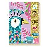 Djeco DJ08663 Lot créatif avec Sable pailleté - Motif Oiseaux Scintillants, Multicolore