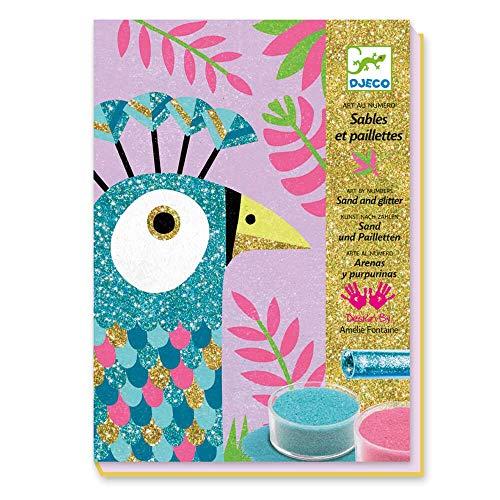 Djeco DJ08663 Kreativ Set Sandbilder Dazzling Birds mit Glitzersand, Multicolour