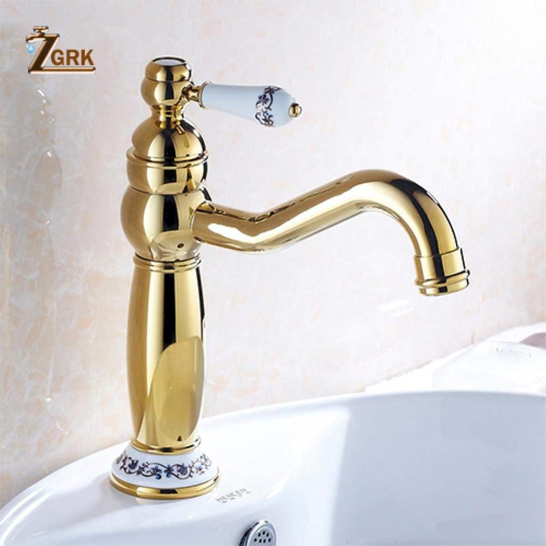 ZGRK Vintage Antik Messing Rotary Einstufige Einlochmontage Kitchen Sink Mischbatterie Waschbecken Mischbatterien Badmbel Armatur A-263