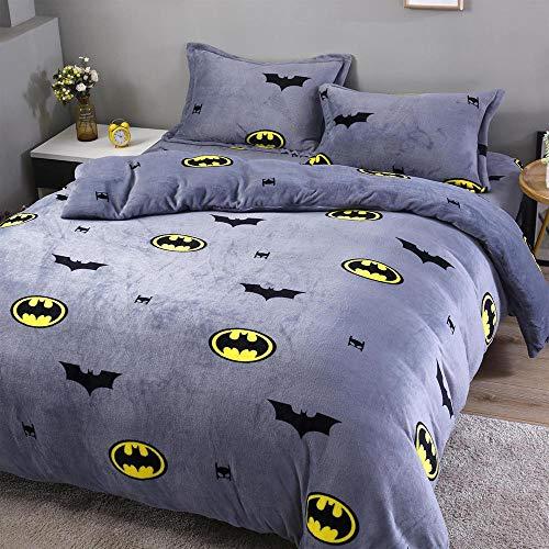 HLSH Juego de funda de cama de franela, 4 piezas, colcha de sarga, funda de almohada de lado ancho, funda de almohada de metal con cremallera (200 x 230 cm), Batman-1,5/1,8 m