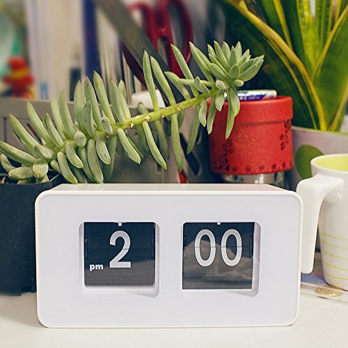 Funwill Auto Flip Clock Digital Atomic Wall Modern Retro Kitchen Bedroom for Kids and Adult Kit Classic Desk Table Page Battery Operated Large Number Display Living Room Best-mall Stylish Modern Down