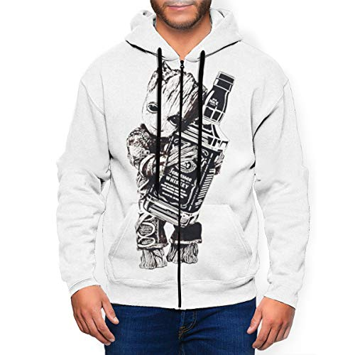 I Am Groot - Jack Daniels Men's Pullover Sweatshirt, Full-Zip Pockets Sweatshirt Coat XL Black