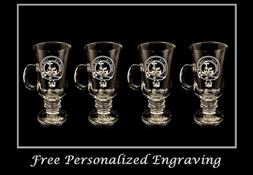 MacDonald Scottish Clan Crest Coffee Glass 10oz. Set of 4 Stemmed Coffee Glasses- Free Personalization