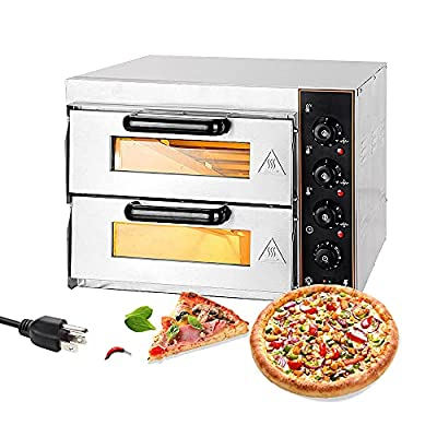 Shikha Electric Pizza Oven Double Deck 3000W 110V Commercial Oven Multipurpose Toaster Bake Broiler Stainless Steel for Restaurant Home Pizza Pretzels Baked Roast Yakitori