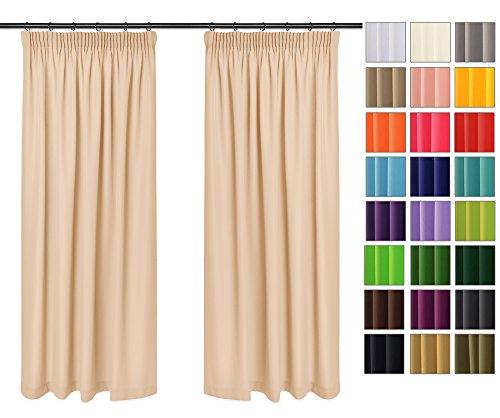Rollmayer Vorhänge mit Bleistift Kollektion Vivid (Lachsfarben 4, 135x215 cm - BxH) Blickdicht Uni einfarbig Gardinen Schal für Schlafzimmer Kinderzimmer Wohnzimmer