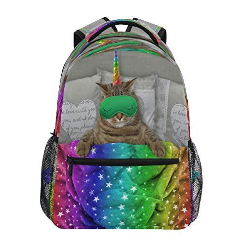 Fotos de unicornio de gato con máscara de dormir en la cama, mochilas para la escuela, mochilas para niños, adolescentes y niños pequeños, mochila de viaje, bolsa de ordenador portátil