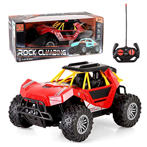 LBLA 1:16 Remote Control Car, 4WD Fast Racing Rock Climbing Off Road Car, Kids Toys Gifts for Boys Girls Indoor Outdoor Game (Red)