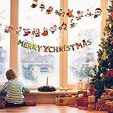 Matogle 7 Stück Weihnachten Girland Banner hängende Papiergirlande Merry Christmas Papier Santa Banner Weihnachtsmann Wimpelkette Schneemann Cartoon Deko für Weihnachten Neues Jahr Party DIY Deko - 3