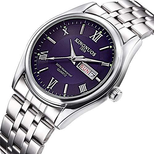 xiaoxioaguo Marca de lujo de acero inoxidable pantalla analógica fecha semana impermeable de los hombres reloj de cuarzo de negocios de los hombres reloj