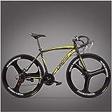 AYHa Camino de la bici, Adulto alto carbono marco de acero ultra-ligero de la bicicleta, la fibra de carbono Tenedor Resistencia camino de la bicicleta, Ciudad de Utilidad bicicletas,3 Spoke Yellow,2