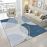 Alfombra para Silla Gaming Decoracion Gamer La Alfombra Impresa Circular Azul Gris Azul se USA para alfombras de Pila Corta en la Sala de Estar, Dormitorio, Cocina 60X90CM Alfombra Terraza Exterior