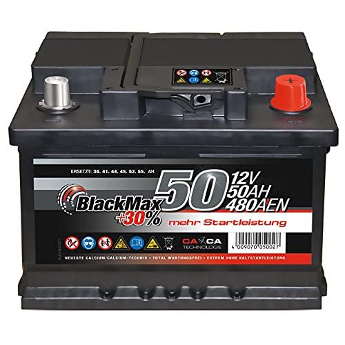 Autobatterie 12V 50Ah 480A/EN BlackMax Starter 30{4876f191296fb0731a84f5606ad8725e57f723ccfda8aafc7ec7f11cb4160934} mehr Leistung ersetzt 36Ah 41Ah 44Ah 45Ah