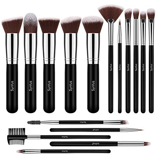 Syntus Makeup Brush Set 16 Pcs Premium Synthetic Foundation Powder Kabuki Blush Concealer Eye Shadow Makeup Brushes Black Silver Large