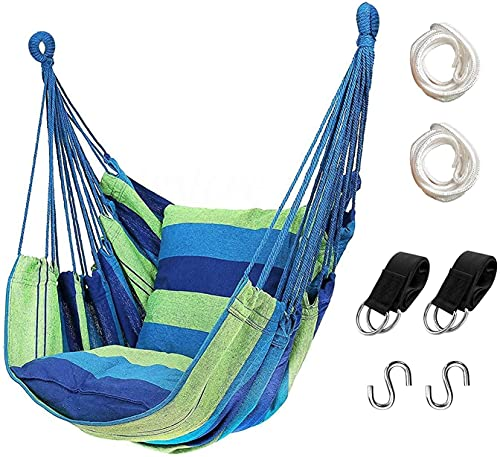 Hammock Chair Hanging Rope Swing - Max 440 Lbs - 2 Cushions Included - for Outdoor, Home, Bedroom, Patio, Yard (Rainbow Colors),Green