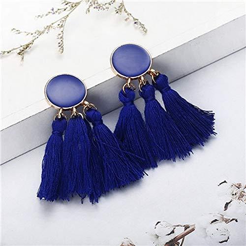 Bohemia Statement Tassle Earing Bohemian Fringe Tassel Earrings for Women Round Drop Dangle Earring Jewelry Wedding Long Fringed Jewelry Gifts (Dark Blue #6)