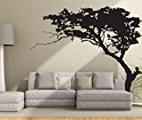 Fymural Huge Tree Wall Decal for Living Room TV Background Removable Decoration Art Sticker 86.6x70.9',Black