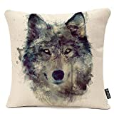 oFloral Nordic Simple Watercolor Painting Wolf Animals Art Throw Pillow Case Cushion Cover Home Office Decorative Square Pillowcase 16 X 16 Inches